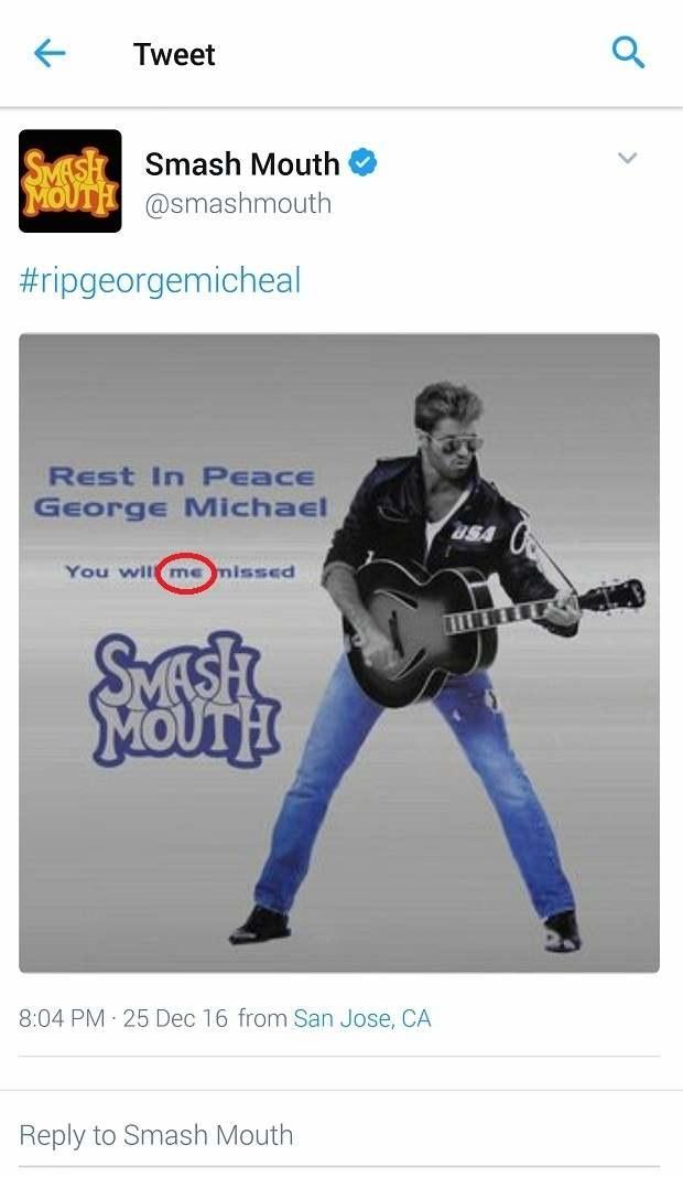 Smash Mouth na Twitterze o Georgu Michaelu /