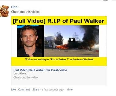 Śmierć Paula Walkera wykorzystana przez oszustów na Facebooku