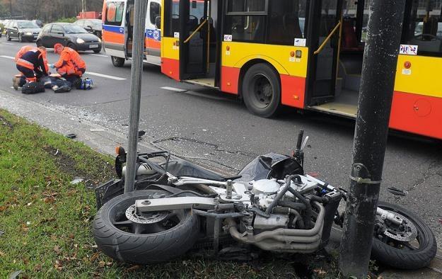 Śmiertelny wypadek motocyklisty na Al. Niepodległości Fot. Jan Bielecki /East News