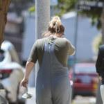 Smutna Kelly Clarkson na spacerze z psem
