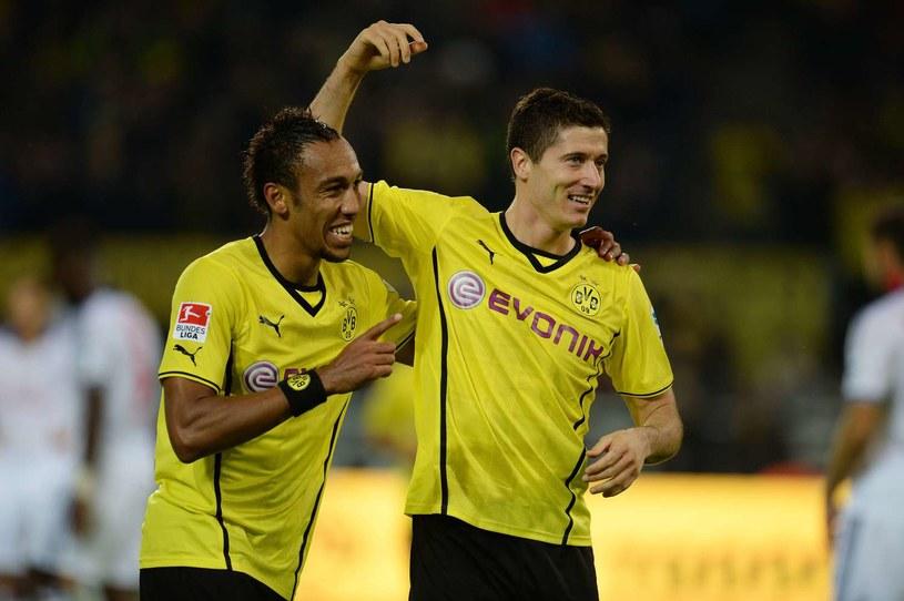 Snajperzy Borussii Dortmund - Pierre-Emerick Aubameyang i Robert Lewandowski /AFP