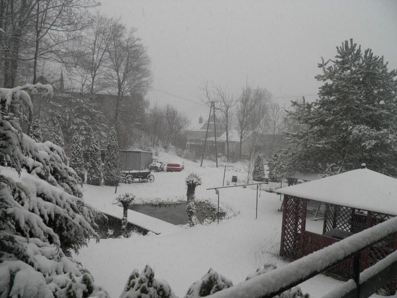 Śnieg spadł w Krzczonowie, fot. Zosia /INTERIA.PL