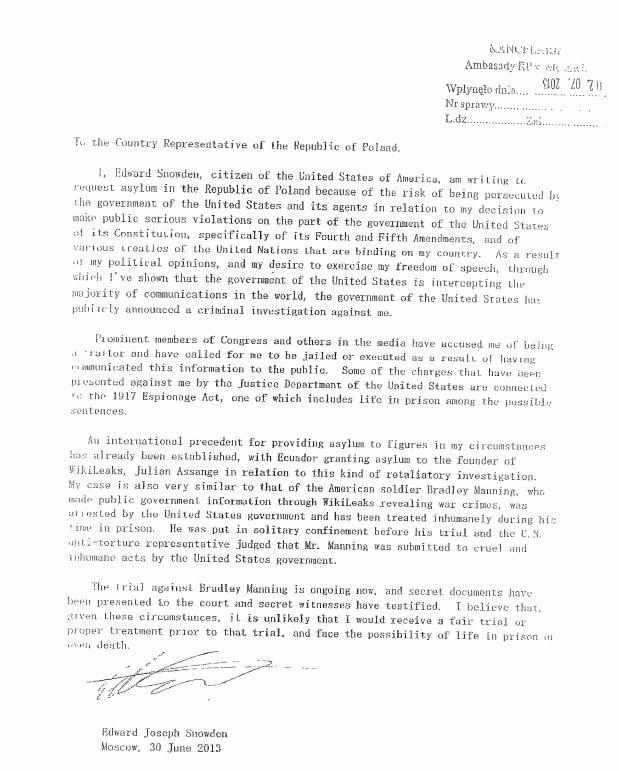 Snowden przesłał swoją prośbę faksem /materiały prasowe