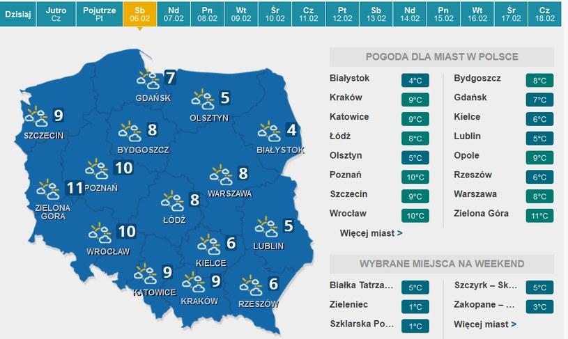 Sobota - prognoza pogody /INTERIA.PL