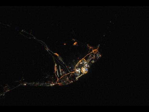 Soczi widziana nocą z ISS /NASA