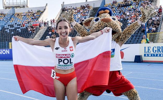 Sofia Ennaoui cieszy się po biegu na 1500 m /Paweł Skraba /PAP