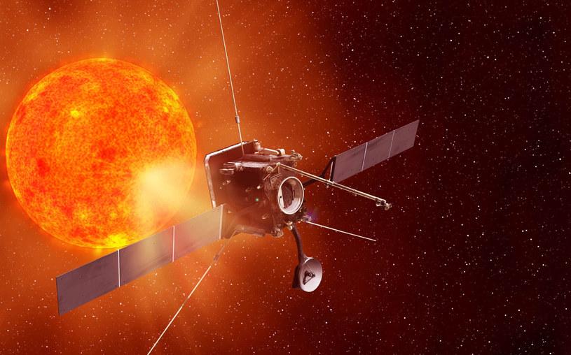 Solar Orbiter na orbicie Słońca - wizja artystyczna. /materiały prasowe