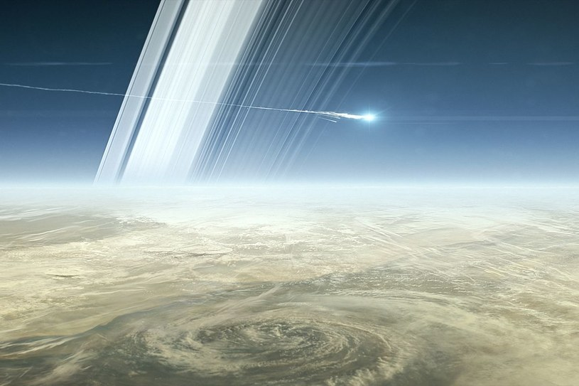 Sonda Cassini wchodzi w atmosferę Saturna - wizualizacja /NASA