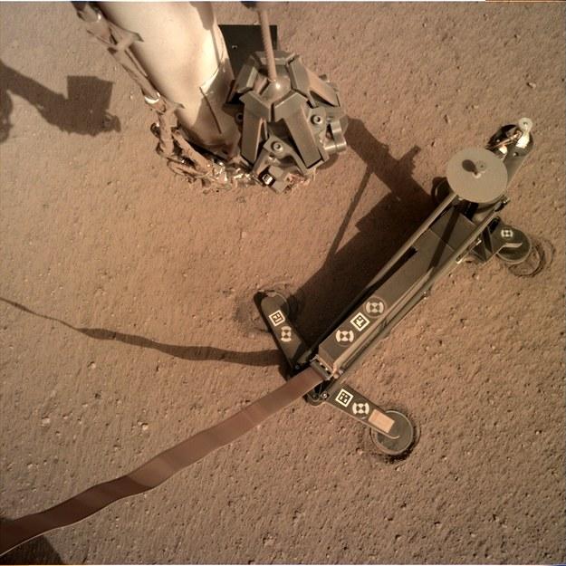 Sonda HP3 z Kretem na powierzchni Marsa, widać, że stelaż przesunął się podczas kopania /NASA/JPL-Caltech /Materiały prasowe