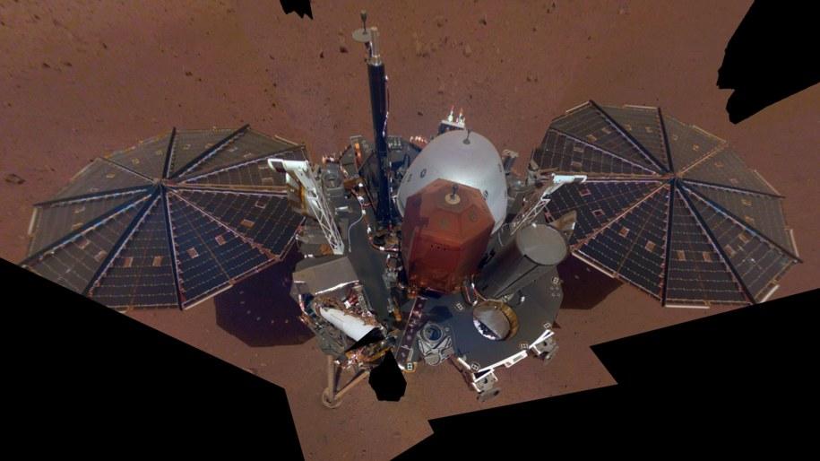 Sonda InSight w obiektywie... swojej kamery /NASA/JPL-Caltech /Materiały prasowe