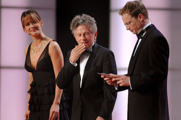 Sophie Marceau, Roman Polański i Maciej Stuhr na gali wręczenia Europejskich Nagród Filmowych w Warszawie w 2006 roku /AFP