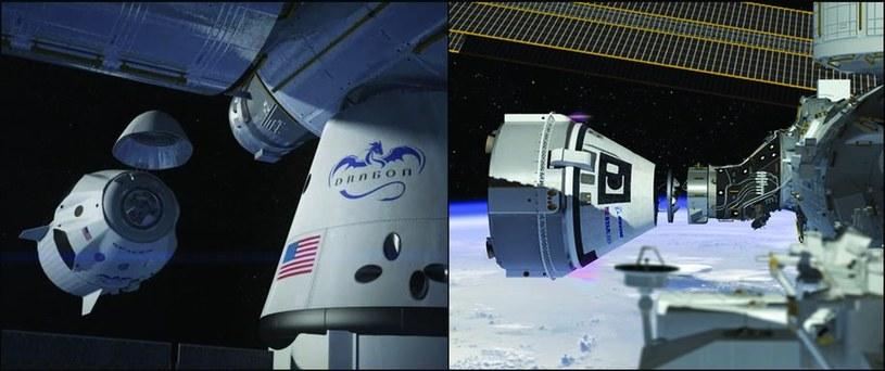 SpaceX Crew Dragon (po lewej) i Boeing CST-100 Starliner (po prawej) /materiały prasowe