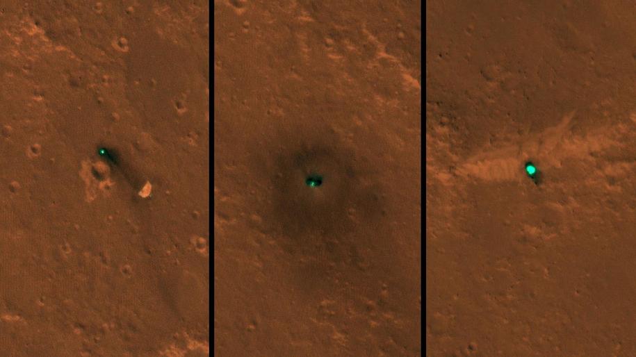 Spadochron (po lewej), lądownik InSight (w srodku), osłona termiczna (po prawej) /NASA/JPL-Caltech/University of Arizona /Materiały prasowe