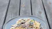 Spaghetti z grzybami i serem pleśniowym