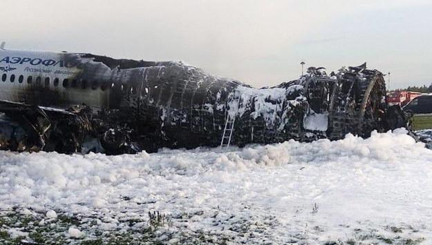 Spalony samolot SSJ-100 /MOSCOW NEWS AGENCY /PAP/EPA