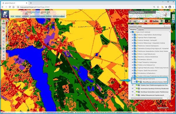 Specjalna mapa pokrycia terenu Polski opracowana na podstawie zdjęć z satelity /