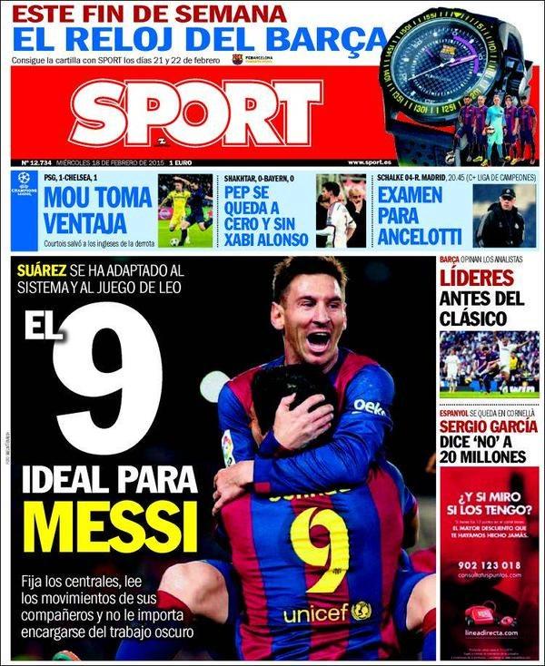 """""""Sport"""" głosi, że Suarez jest idealną """"9"""" dla Messiego. /INTERIA.PL"""
