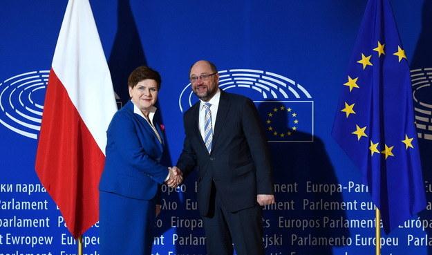 Spotkanie Beaty Szydło z przewodniczącym PE Martinem Schulzem /Radek Pietruszka /PAP