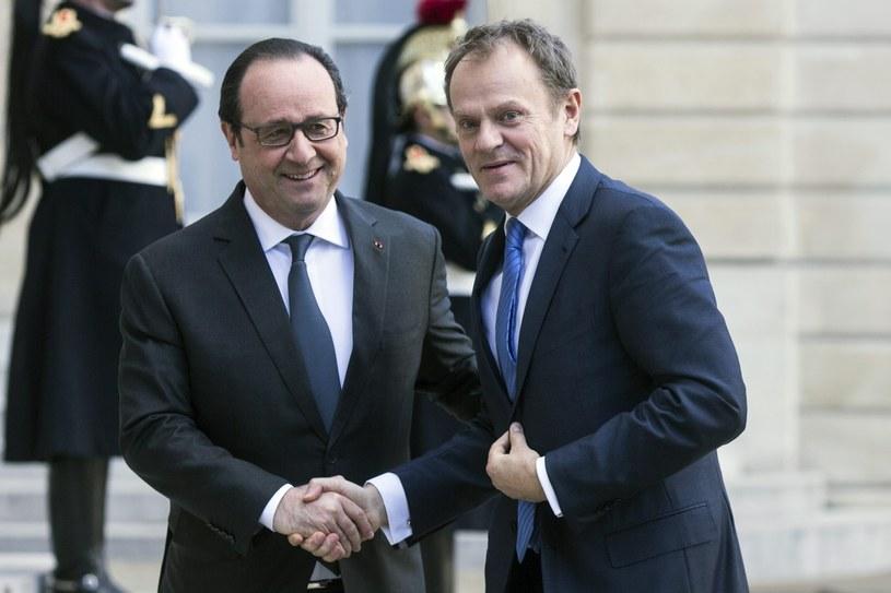 Spotkanie Donalda Tuska i prezydenta Francji Francois'a Hollande'a /ETIENNE LAURENT /PAP/EPA