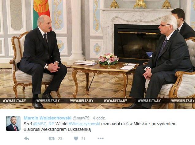 Spotkanie ministwa Witolda Waszczykowskiego z Aleksandrem Łukaszenką /Twitter