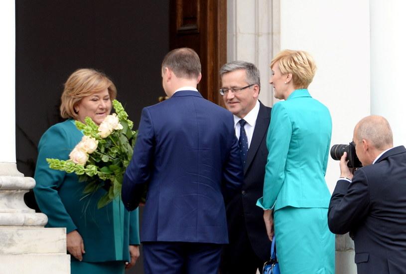 Spotkanie pary prezydenckiej z Andrzejem Dudą i jego żoną /Jacek Turczyk /PAP