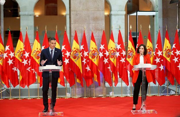 Spotkanie pomiędzy premierem Hiszpanii Pedrem Sanchezem a premier regionu Madrytu Isabel Diaz Ayuso /EMILIO NARANJO /PAP/EPA