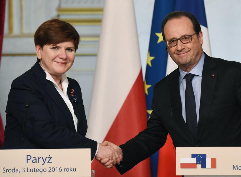 Spotkanie premier Beaty Szydło i prezydenta Francois'a Hollande'a /Radek Pietruszka /PAP