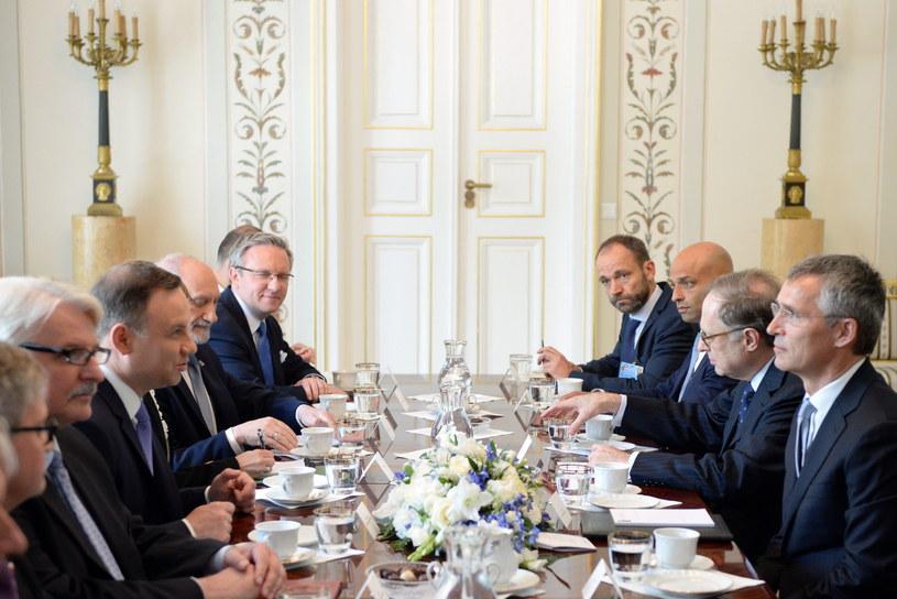 Spotkanie prezydenta Andrzeja Dudy z Sekretarzem Generalnym NATO Jensem Stoltenbergiem /Jacek Domiński /Reporter