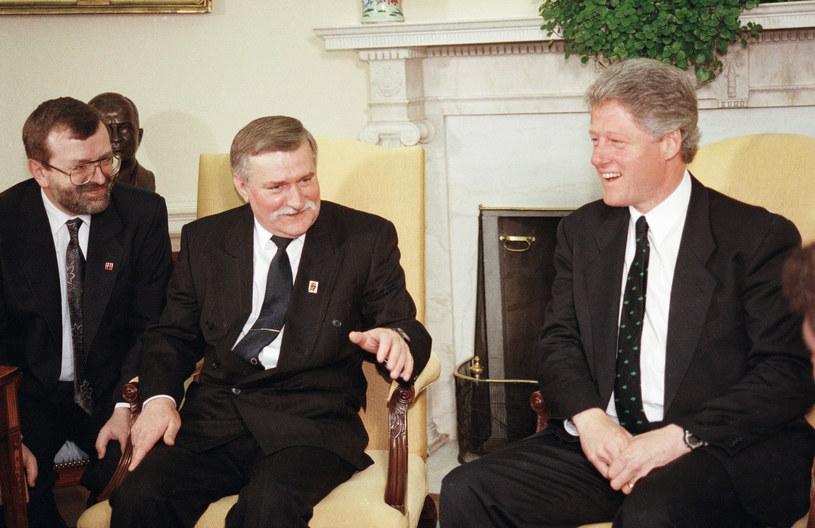 Spotkanie prezydenta Lecha Wałęsy z prezydentem USA Billem Clintonem w Białym Domu, 21 kwietnia 1993 r. /AP Photo/J. Scott Applewhite /East News