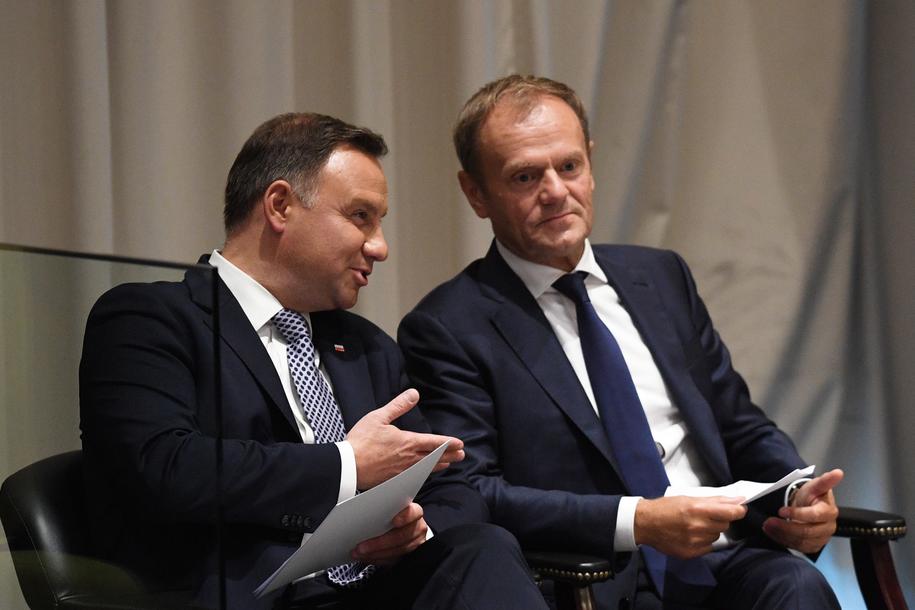 Spotkanie prezydenta Polski i byłego premiera w Nowym Jorku /Radek Pietruszka /PAP