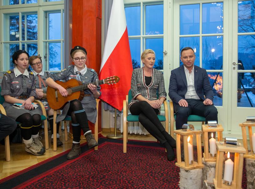 Spotkanie z harcerzami z okazji Dnia Myśli Braterskiej /Andrzej  Grygiel /PAP