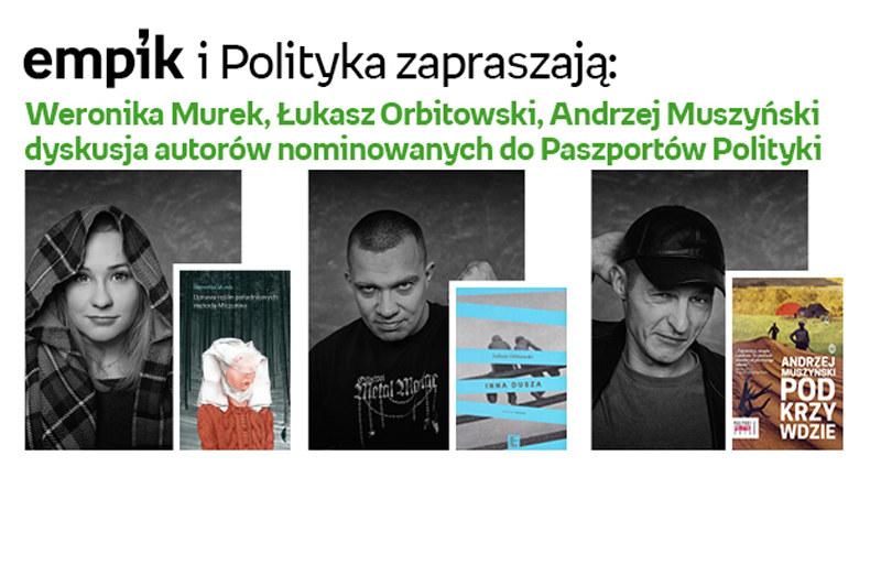Spotkanie z Weroniką Murek, Łukaszem Orbitowskim i Andrzejem Muszyńskim /materiały prasowe