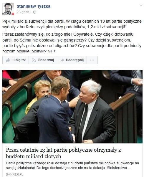 Sprawę subwencji skomentował Stanisław Tyszka /