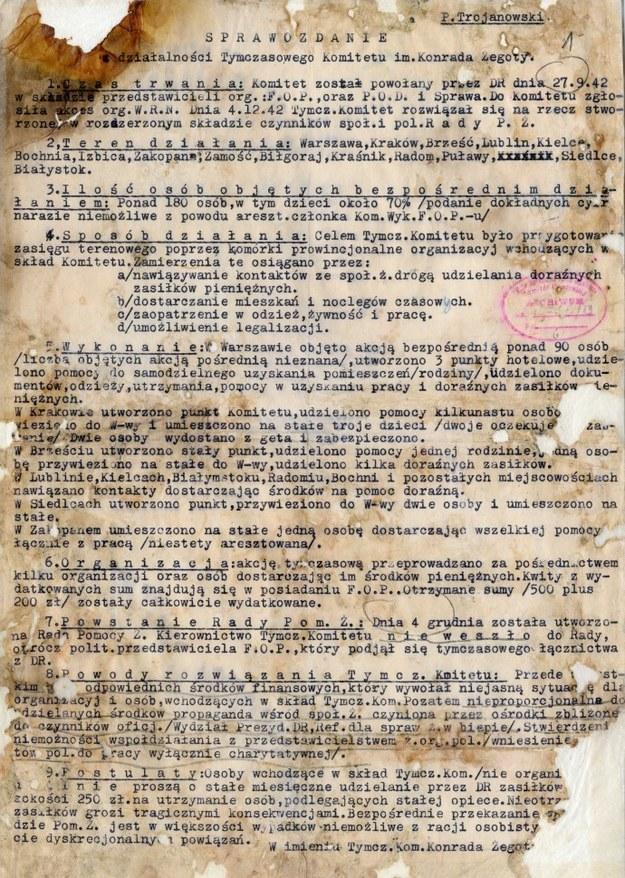 Sprawozdanie z działalności Tymczasowego Komitetu Pomocy Żydom w okresie od 27 IX 1942 r. do 4 XII 1942 r. Warszawa, grudzień 1942 r. /Archiwum Akt Nowych