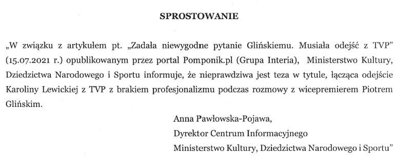 Sprostowanie /pomponik.pl