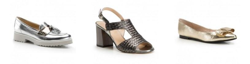 Srebrne mokasyny,  metaliczne sandały, złote baleriny /materiały promocyjne