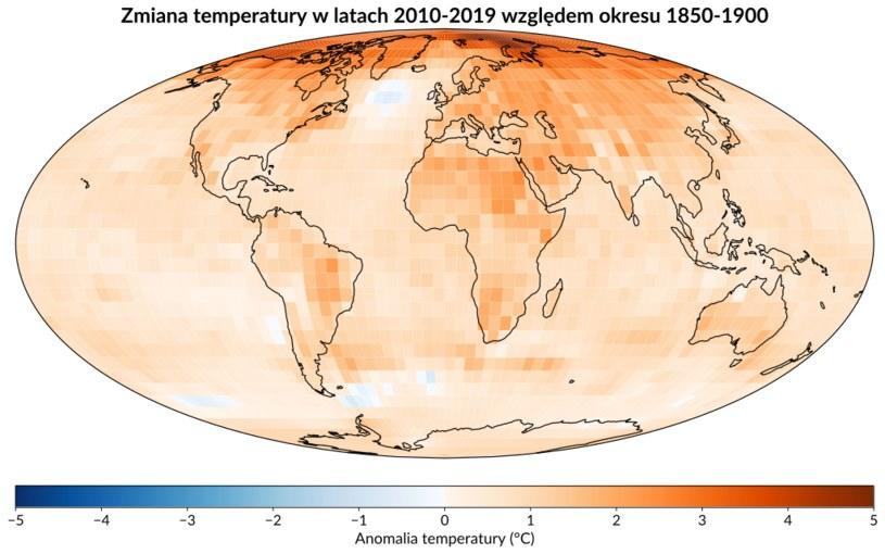Średnia anomalia temperatury z lat 2010–2019, względem okresu 1850-1900 /Wikimedia