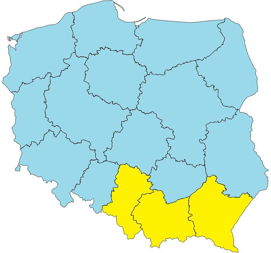 Środa 9 maja. Żółty na mapie oznacza pierwszy stopień zagrożenia pogodowego – przymrozki /Na podstawie IMiGW  /RMF FM