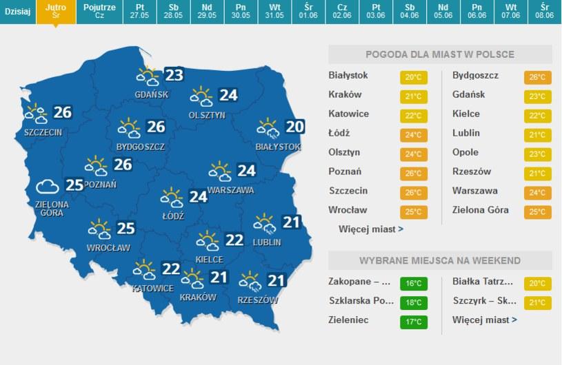 Środa, prognoza pogody /INTERIA.PL