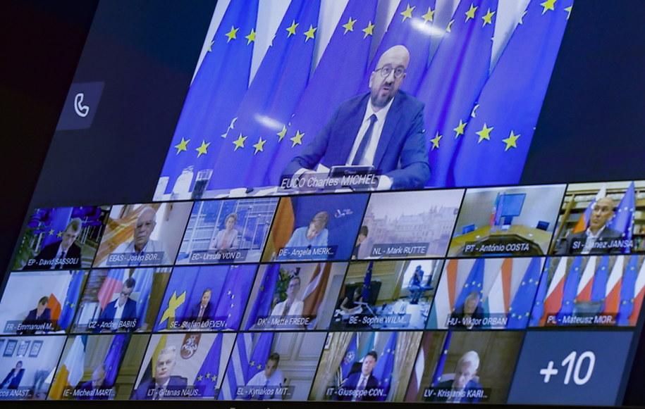 Środowy wideoszczyt UE w sprawie sytuacji na Białorusi /OLIVIER HOSLET / POOL /PAP/EPA