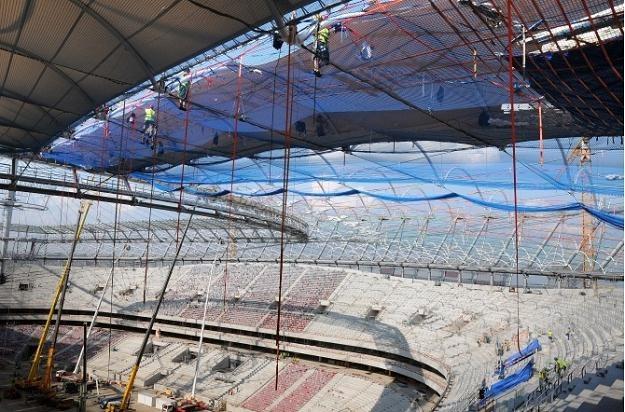 Stadion Narodowy podczas budowy (zdjęcie z 19 maja 2011 r.). /Informacja prasowa