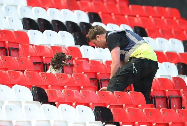 Stadion przeszukują służby z przeszkolonymi psami /PETER POWELL   /PAP/EPA
