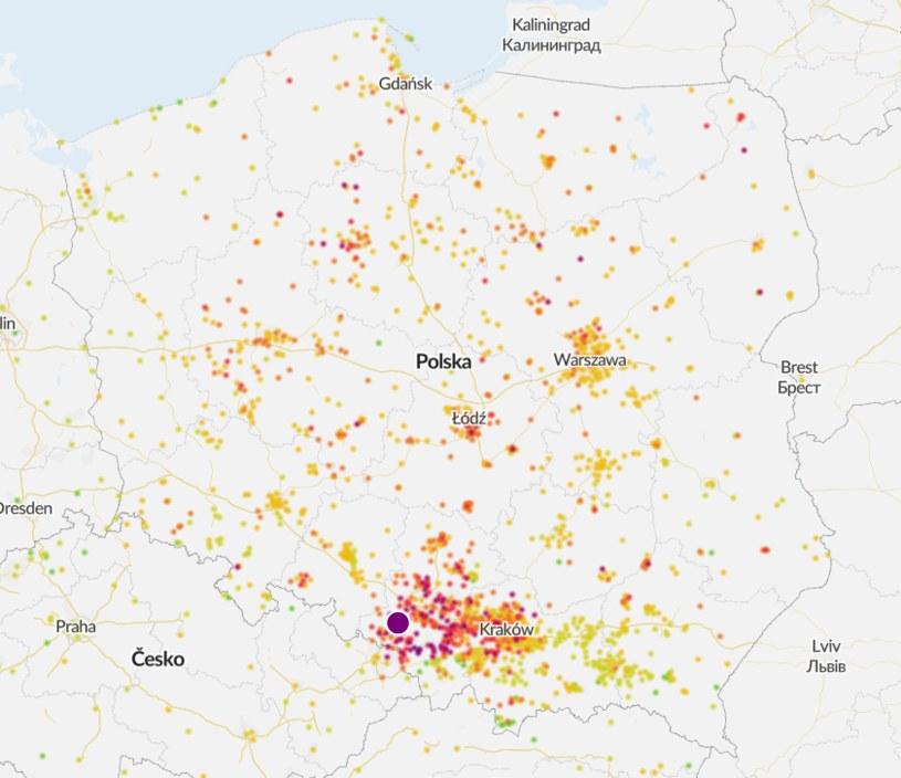 Stan powietrza w Polsce na godz. 08:30 /arly.org