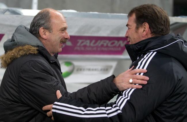 Stanislav Levy (Śląsk, z lewej) i Jan Urban (Legia) /Maciej Kulczyński /PAP