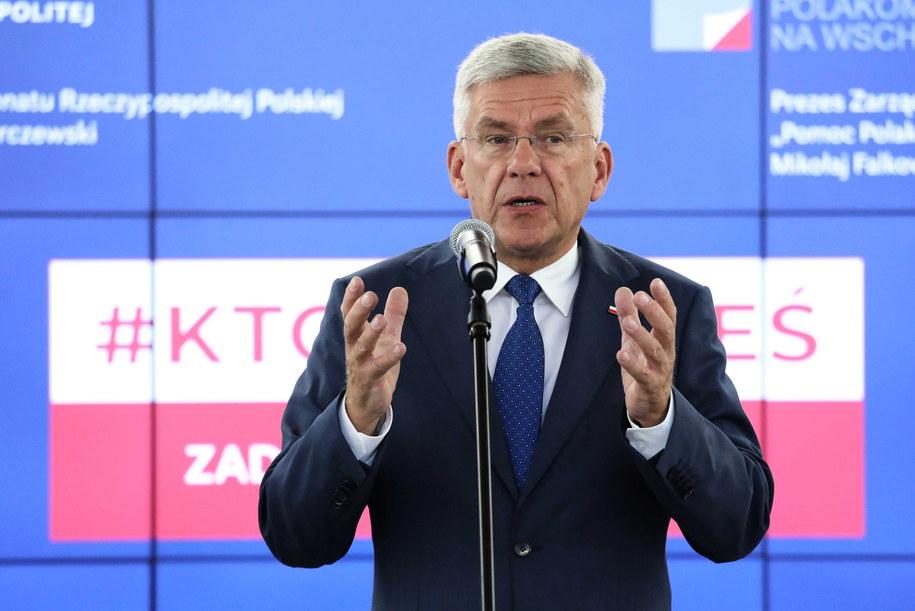 Stanisław Karczewski podczas konferencji prasowej / Tomasz Gzell    /PAP