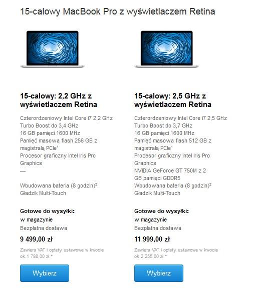 Stare MacBooki Pro także z nową ceną... /materiały prasowe