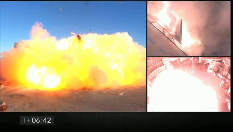 Starship SN8 - moment eksplozji przy próbie lądowania. Fot. SpaceX /materiały prasowe
