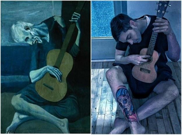 """Stary gitarzysta"", Pablo Picasso. Fot. foolsdoart.com /Sztukatulka.pl"