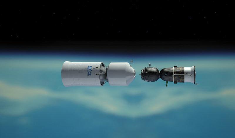 Statek Sojuz cumuje do dodatkowego habitatu, zbiornika paliwa oraz silnika potrzebnego do lotu wokółksiężycowego /materiały prasowe