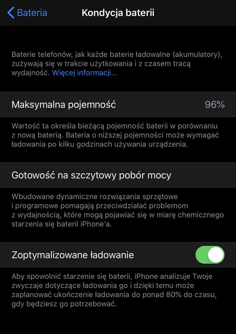 Status baterii w iPhone /INTERIA.PL